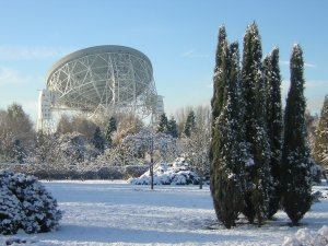 Jodrell Bank in the snow