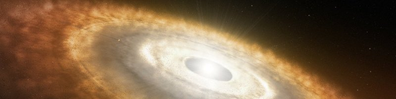 Artist's impression of a baby star still surrounded by a protoplanetary disc in which planets are forming